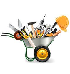 Wheelbarrow with Tools vector image vector image