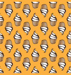 White cream cupcake seamless yellow pattern vector