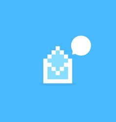 white pixel art letter like notification vector image