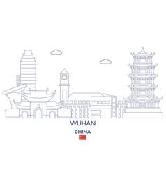 Wuhan city skyline vector