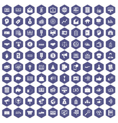 100 e-commerce icons hexagon purple vector