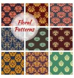 Floral seamless pattern with damask flourishes vector