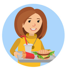 Fast food or restaurant woman with tray isolated vector