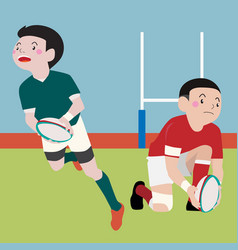 Rugby athletic sport cartoon set vector