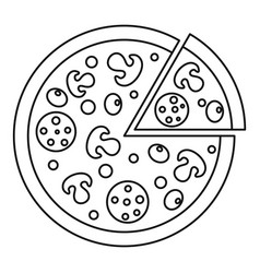 Delicious pizza with mushrooms salami olives icon vector