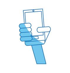 hand holding smartphone communication blue line vector image