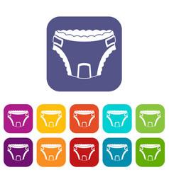 Baby diaper icons set vector