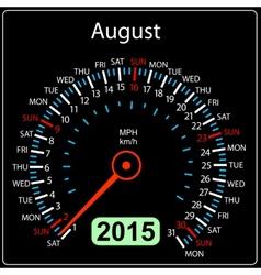 2015 year calendar speedometer car in August vector image vector image