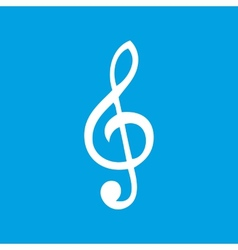 Treble clef white icon vector