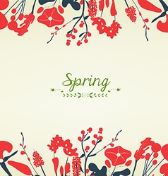 Happy spring flower postcard vintage vector