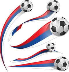 Russian flag set with soccer ball vector