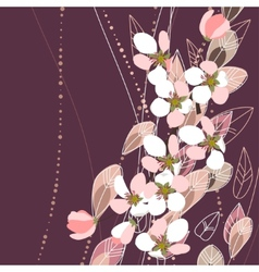 blossomig branches on dark background vector image
