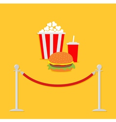 Red rope popcorn soda hamburger movie flat vector