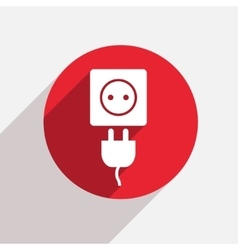 modern plug red circle icon vector image
