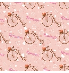 Wedding retro bicycle seamless pattern vector