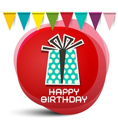 Happy birthday gift box with flags on red circle vector