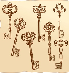 Set of Antique Keys vector image