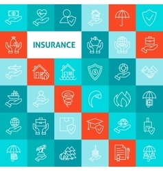 Line art insurance icons set vector