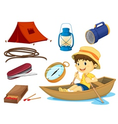 A boy and various objects of camping vector