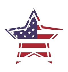 American flag star icon with outline vector