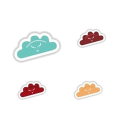 Assembly paper sticker of dumplings with beef vector