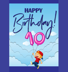birthday card with boy and number ten vector image