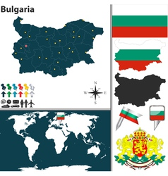Bulgaria map world vector