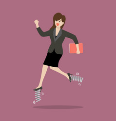 Business woman running by elastic spring shoes vector