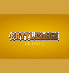 Cattleman cattle man western style word text logo vector