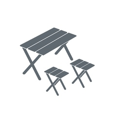 Chairs and table icon vector