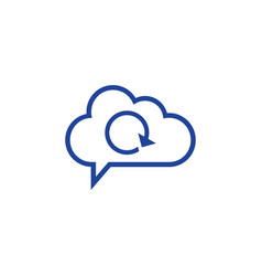 cloud reload icon computing concept vector image vector image