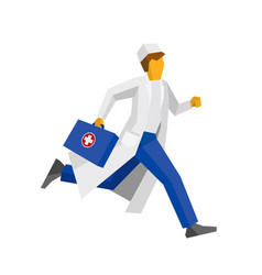 Doctor in white coat running with first aid box vector
