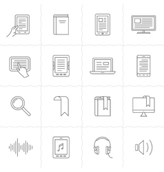 E-book and audio books icons vector image