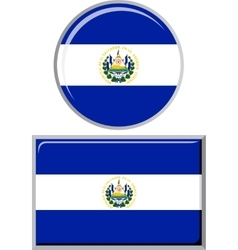 El salvador round and square icon flag vector