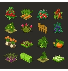 Farm of a bed and other elements vector