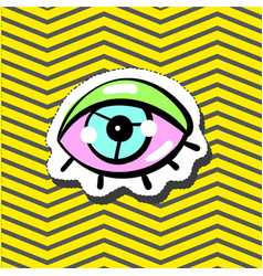 Fashion patch badge pin with eye vector