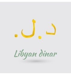 Golden Symbol of the Libyan dinar vector image vector image