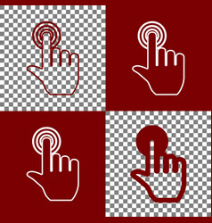 Hand click on button bordo and white vector
