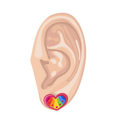 Human ear and earring vector