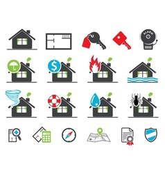insurance icons vector image vector image