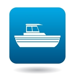Large motor yacht icon flat style vector