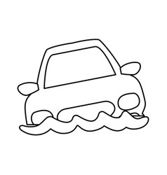 Line flooded car for danger weather vector