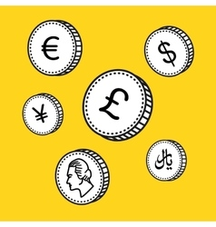line hand drawn coins Black and white vector image vector image