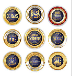 luxury golden badges collection 4 vector image