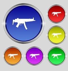 Machine gun icon sign round symbol on bright vector