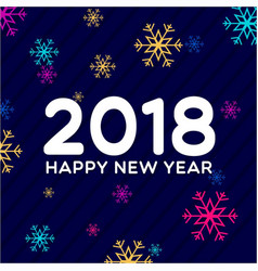 new year 2018 colorful snow background vector image vector image
