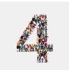 People form number four vector