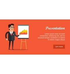 Presentation banner business man in suit and tie vector