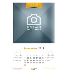 september 2018 wall calendar for 2018 year design vector image vector image