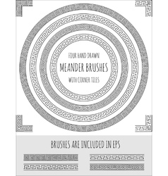 Set of four hand drawn meander brushes vector